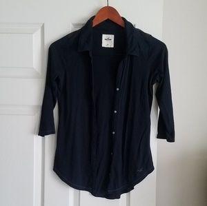 Hollister XS Dark Navy Blue 3/4 Sleeve Top
